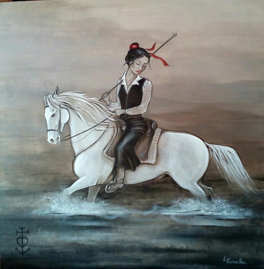 Camarguaise à cheval