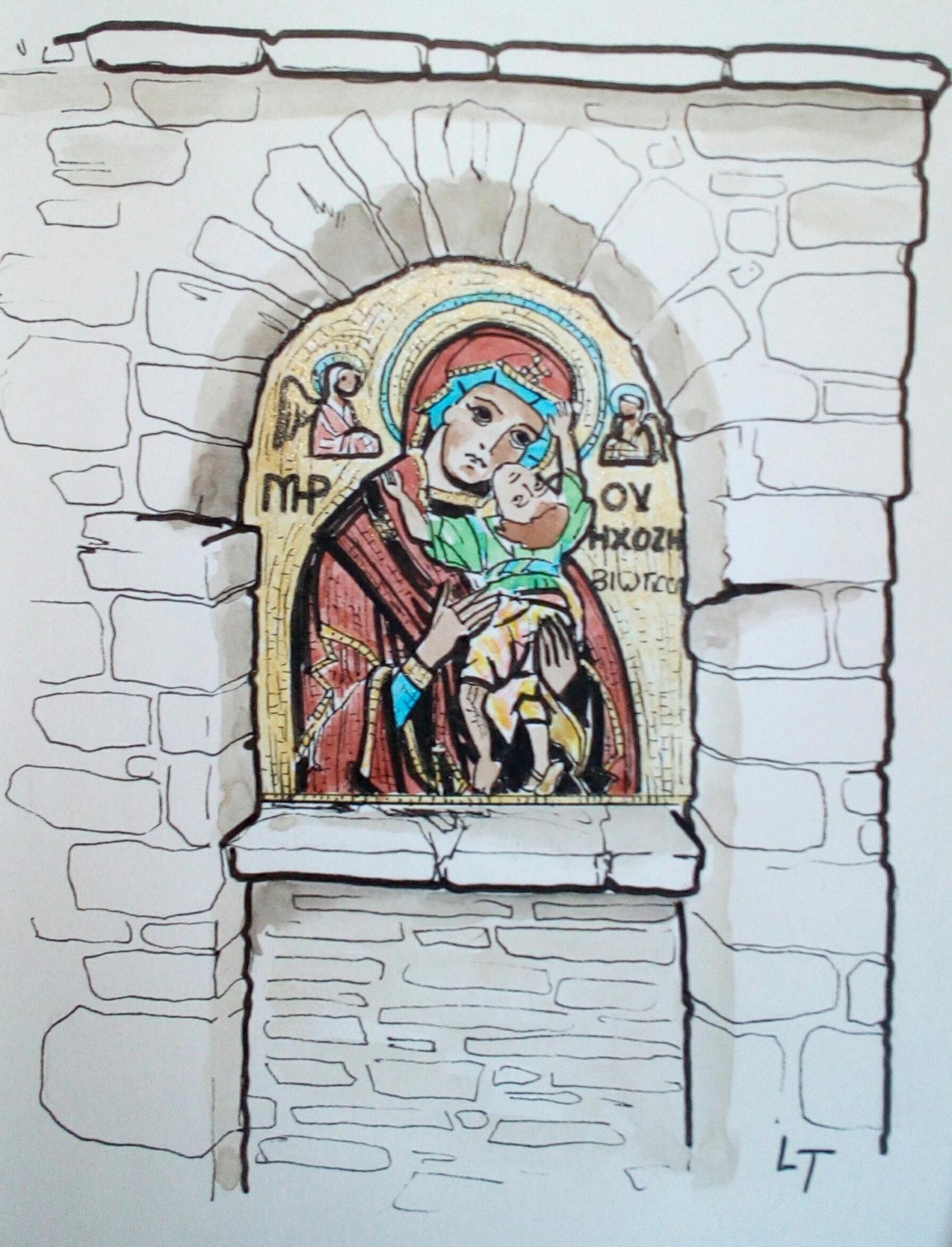 Amorgos, icone à l'entrée du monastère